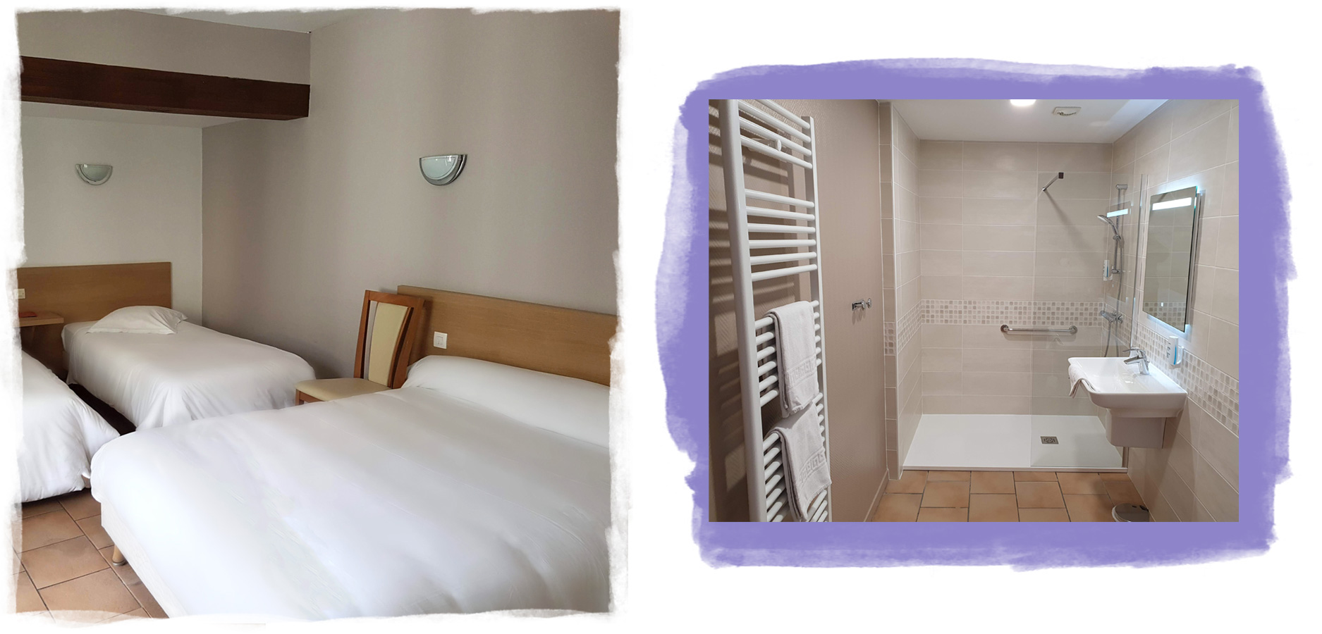 Details of a room for four people full-foot with shower