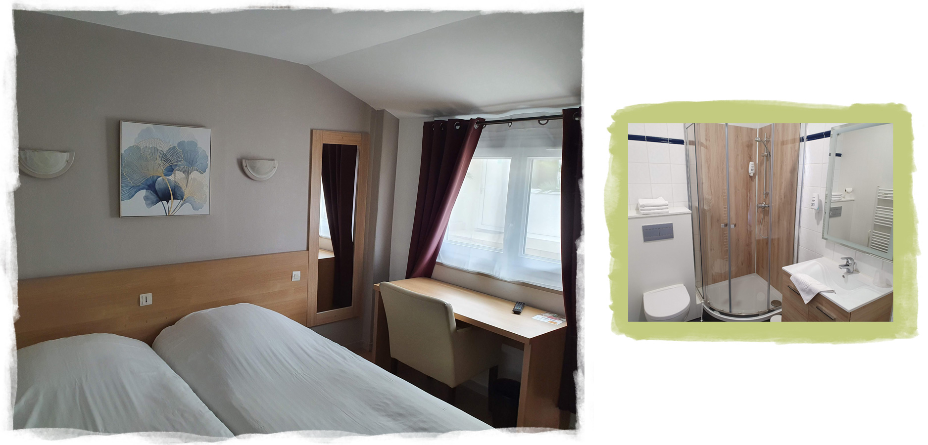 Room with a desk and a bathroom with shower