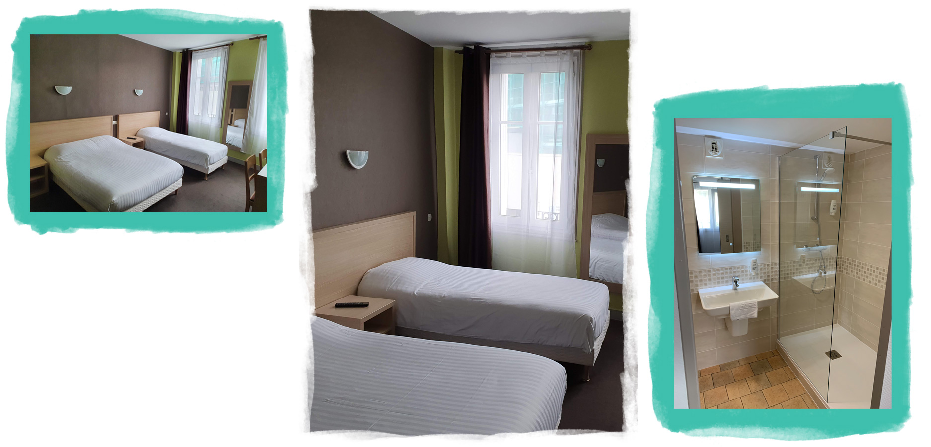 View of a warm room with a double bed and a single bed